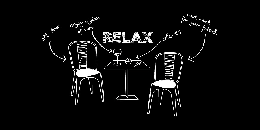 Black and white illustration. Sit down, relax and wait for your friend.